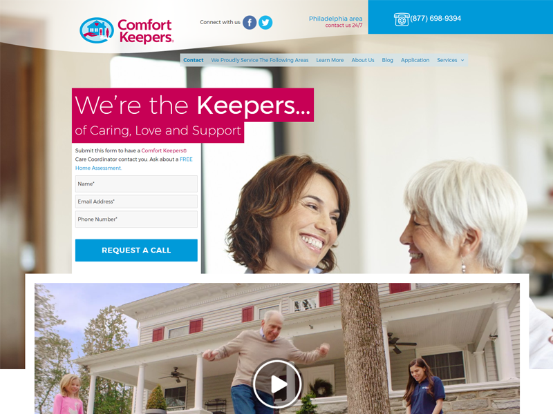Comfort Keepers Philly Home Page Design by Results Driven Marketing