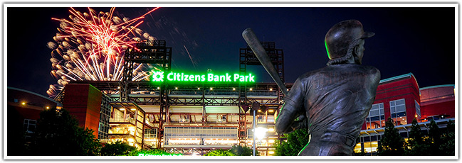 citizens bank park at night