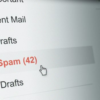view of a spam folder through gmail